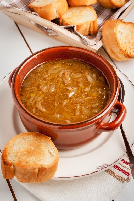 French onion soup a healthy reduced fat version with plain toasted croutons